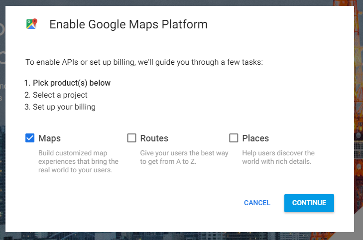 enable google maps api